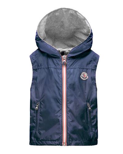 Deneb Jersey-Lined Hooded Vest, Dark Blue, Size 2-6