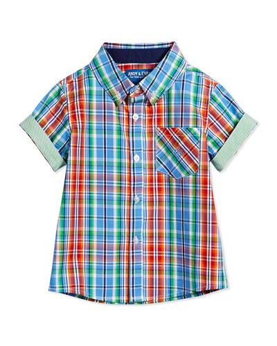 Nothing Else Madras Short-Sleeve Shirt, Blue, Size 2T-7Y