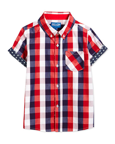 Lil' Drummer Boy Buffalo Check Short-Sleeve Shirt, Red, Size 2T-7Y