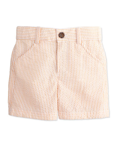 Striped Seersucker Shorts, Orange, Size 2T-7Y