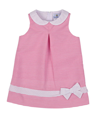 Striped Ottoman Racerback Dress, Fuchsia/White, Size 12-24 Months