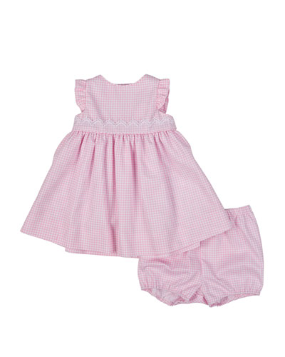 Fine-Wale Pique Gingham Dress & Bloomers, White/Pink, Size 3-24 Months
