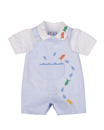 Check Shortalls & Pique Polo Set, Light Blue, 3-24 Months