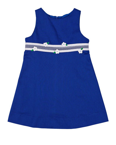 Fine-Wale Pique Shift Dress, Royal, Size 2T-6X