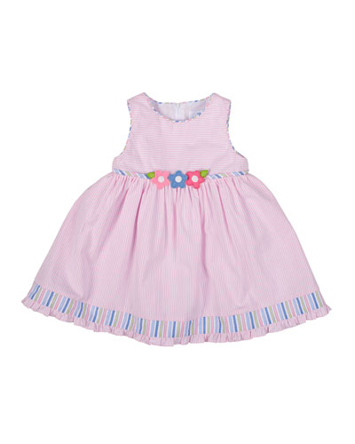 Striped Seersucker Dress, White/Pink, Size 12-24 Months