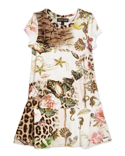Multipattern Jersey Dress, Multicolor, Size 2-10