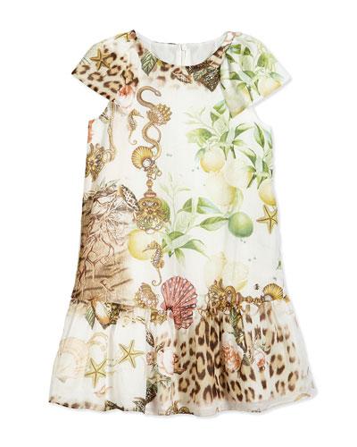 Graphic-Print Woven Dress, Multicolor, Size 3-10