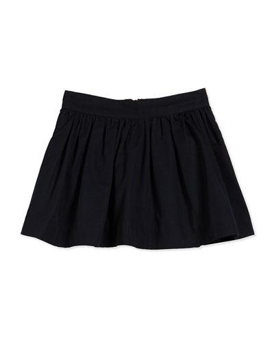 coreen cotton-faille circle skirt, black, size 2-6
