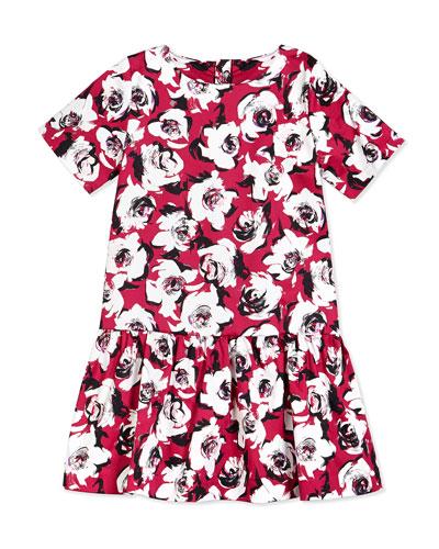 mellie floral sateen dress, romantic spring, size 7-14