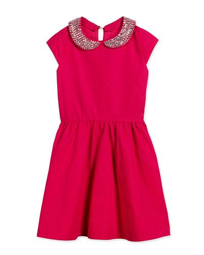 kimberly rhinestone-collar dress, sweetheart pink, size 7-14