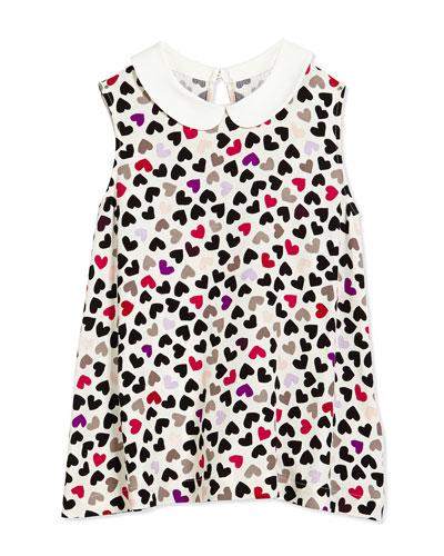 jensen heart-print crepe blouse, cream, size s-xl