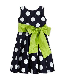 Satin Polka Dot Circle Dress, Navy/White, Size 7-14