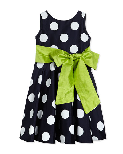 Satin Polka Dot Circle Dress, Navy/White, Size 7-14