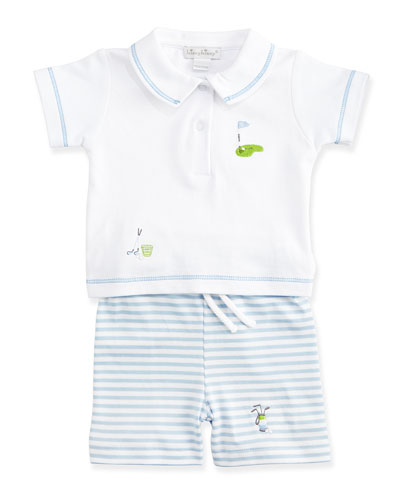Chip & Putt Pima Polo & Bermuda Shorts Set, Light Blue/White, Size 3-24 Months