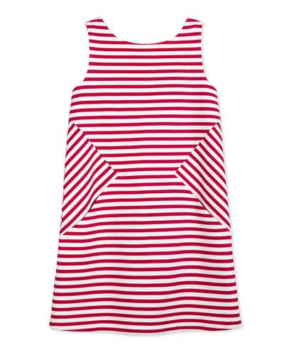 vivien striped ponte dress, sweetheart pink/white, size 7-14