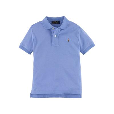 Short-Sleeve Pima Polo Shirt, Regent Blue, Size 2-7