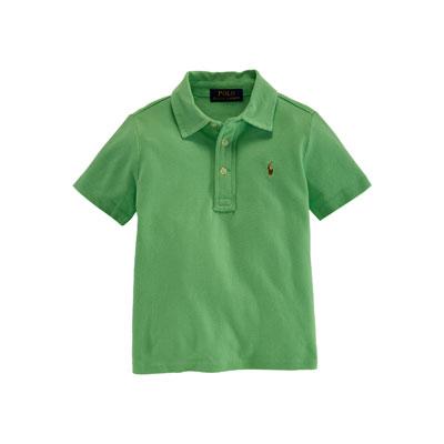 Cotton Featherweight Polo Shirt, Tropic Green, Size 2-7