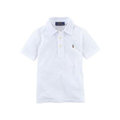 Cotton Featherweight Polo Shirt, White, Size 2-7