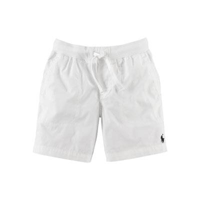 Cotton Poplin Varsity Shorts, White, Size 2-7