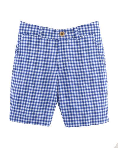 Gingham Linen-Blend Shorts, Royal/White, Size 2-7