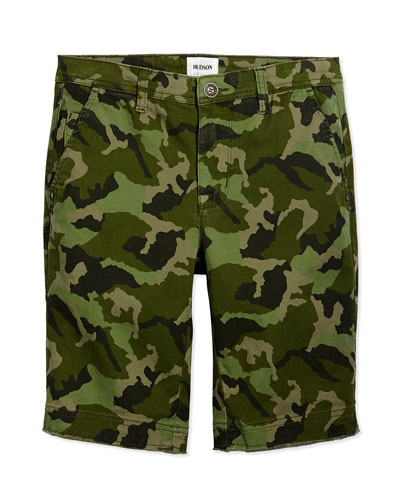 Camouflage-Print Raw-Edge Shorts, Greenday, Sizes 2T-16