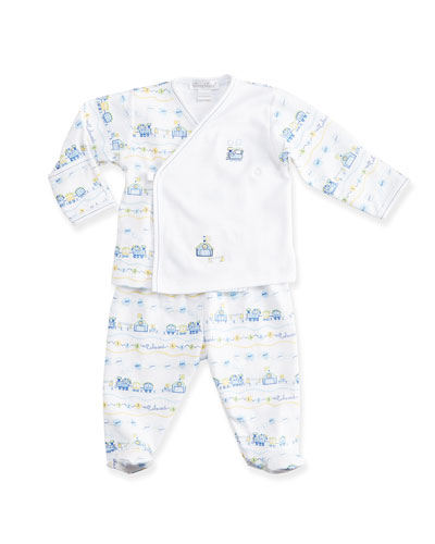 Choo Choo Train Pima Pajama Set, Light Blue/White, Size NB-9 Months