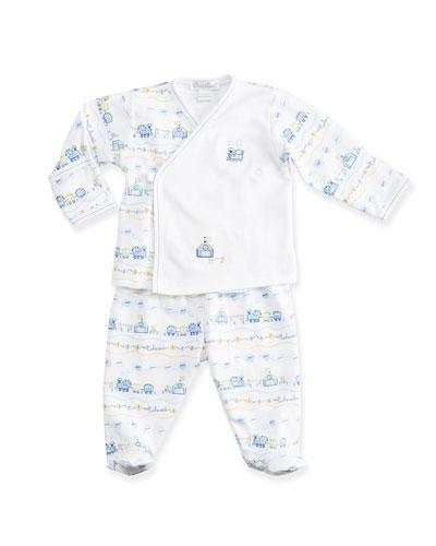 Choo Choo Train Pima Pajama Set, Light Blue/White, Size NB-9 Months