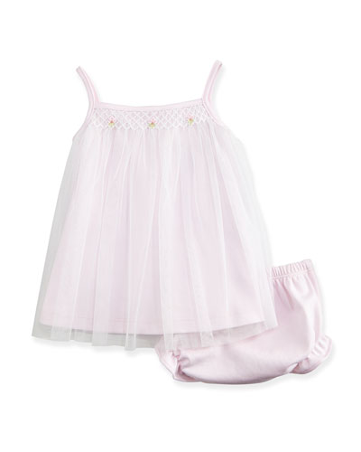 CLB Summer Tulle Shift Dress & Bloomers, Pink, Size 0-24 Months