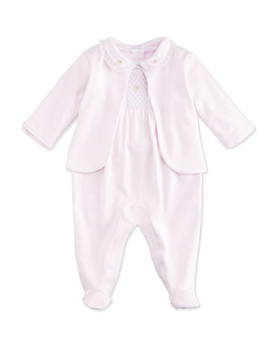 CLB Summer Pima Footie Pajamas w/ Jacket, Pink, Size NB-9 Months