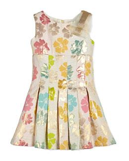 Striped Floral-Jacquard Dress, White/Multicolor, Size 2-6X