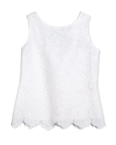 eyelet lace peplum blouse, fresh white, size s-xl