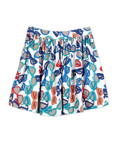 coreen sunglasses-print crepe skirt, white, size 2-6