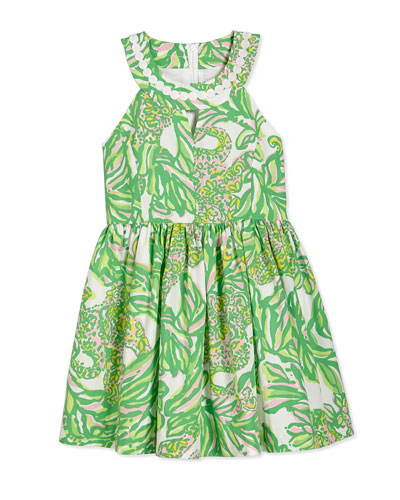Claude Fit-and-Flare Dress, Resort White Seeing Elephants, Girls' Sizes 2-14