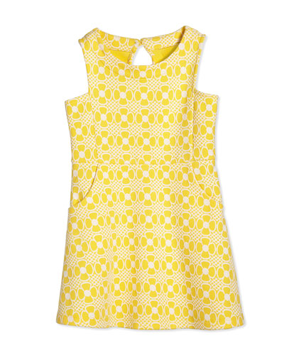 Jen Daisy-Jacquard Fit-and-Flare Dress, Sunglow Yellow, Girls' Size XS-XL