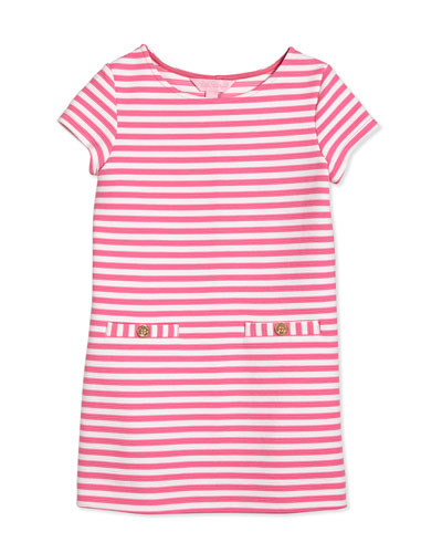 Little Layton Ottoman-Stripe Shift Dress, Hotty Pink, Girls' Size S-XL