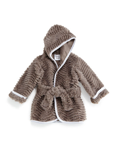 Ziggy Long-Sleeve Plush Robe, Slate, Infant