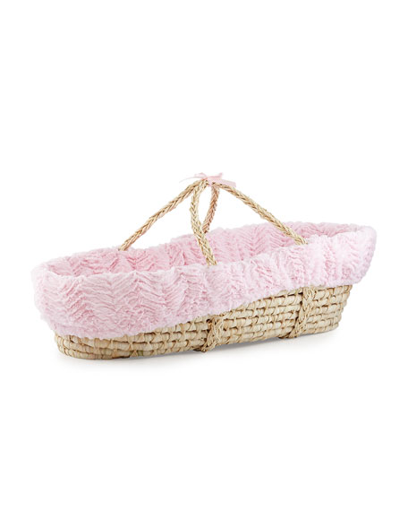Ziggy Moses Basket w/ Bedding, Pink