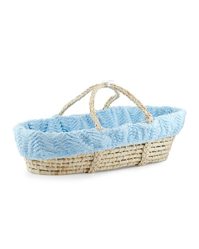 Ziggy Moses Basket w/ Bedding, Blue