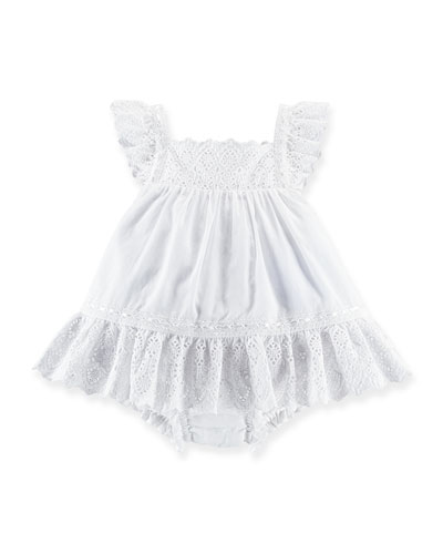 Embroidered Voile Shift Dress, White, Size 6-24 Months