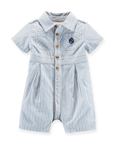 Striped Cotton Shortall, Blue/Cream, Size 3-18 Months