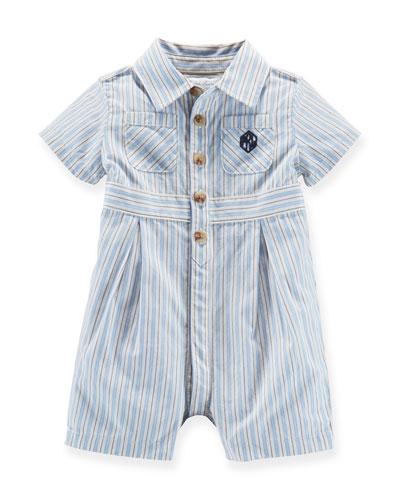 Striped Cotton Shortall, Blue/Cream, Size 3-18 Months