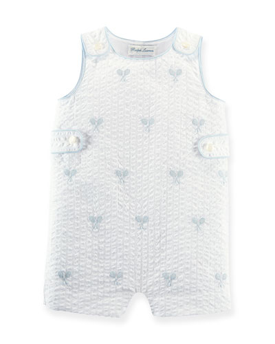 Rattle-Embroidered Overall Playsuit, White, 3-18 Months