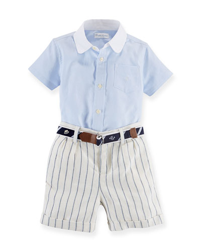 Poplin Shirt, Striped Shorts & Belt Set, Blue/White, 6-24 Months