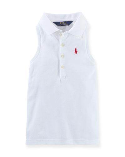 Sleeveless Stretch Mesh Polo Shirt, White, Size 2-6X