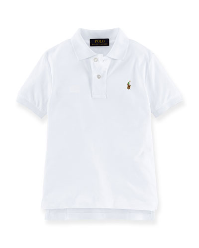 Short-Sleeve Pima Polo Shirt, White, Size 2-7