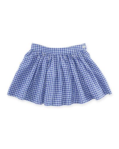 Gingham Linen-Blend A-Line Skirt, Royal/White, Size 2T-6X