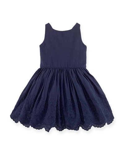 Floral-Embroidered A-Line Dress, Navy, Size 2T-6X