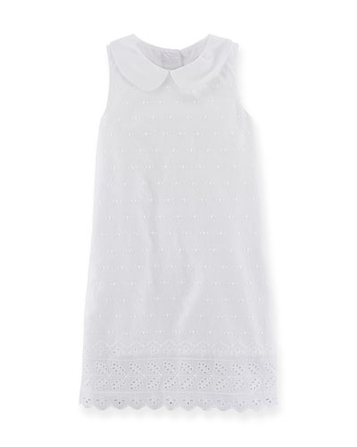 Sleeveless Embroidered Shift Dress, White, Size 2T-6X