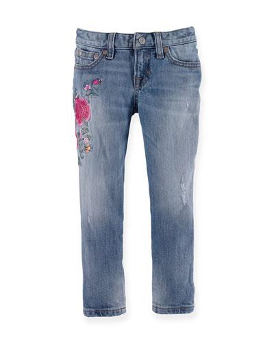 Floral-Trim Slim-Fit Denim Jeans, Blue, Size 2T-6X