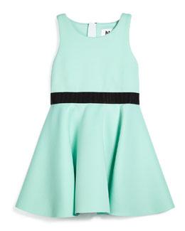 Racerback Ponte Flounce Dress, Mint Green, Size 8-14